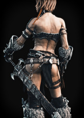 Rear view of an armed female warrior on a black background. 3d rendering