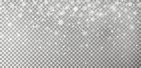 Christmas falling snow vector isolated on dark background. Snowflake transparent decoration effect.