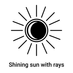 Shining sun with rays icon vector sign and symbol isolated on white background, Shining sun with rays logo concept