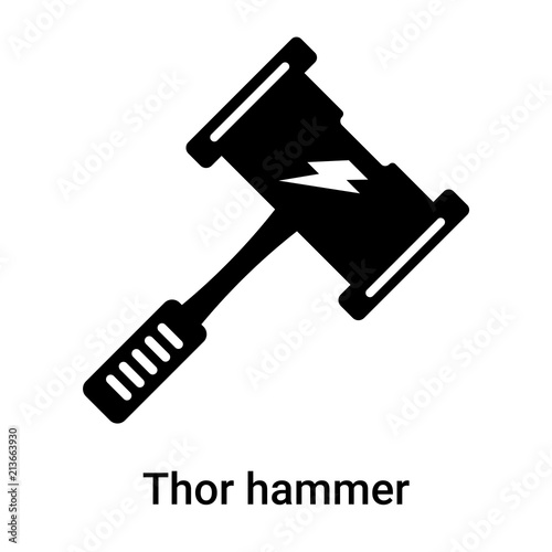 Thor Hammer Icon Vector Sign And Symbol Isolated On White Background