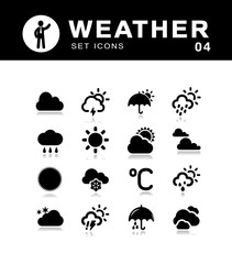 Weather vector collection of black icons.