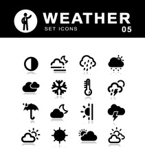 Weather collection meteorology icons.