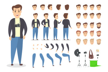 Handsome photographer character set for animation