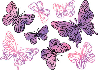 PINK BUTTERFLIES Color Vector Illustration Set for Scrapbooking and Digital Print on Card And Photo Children's Albums