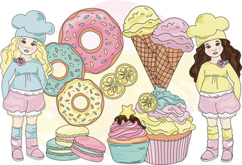 SWEET LIFE Color Vector Illustration Set for Scrapbooking and Digital Print on Card And Photo Children's Albums
