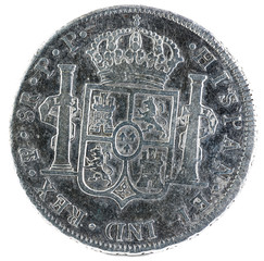 Ancient Spanish silver coin of the King Carlos IV. 1801. Coined in Potosi. 8 reales. Reverse.