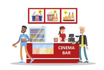 People buy pop corn and soda in cinema bar