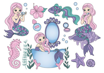 PURPLE MERMAID Sea Color Vector Illustration Set for Scrapbooking and Digital Print on Card And Photo Children's Albums