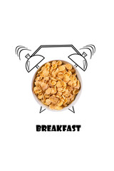 Breakfast time. Realistic cereals and painted alarm clock. Concept. Illustration