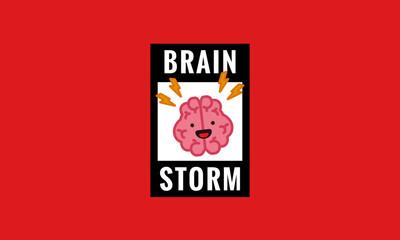 Brain Storm Cartoon Vector Illustration Poster Design
