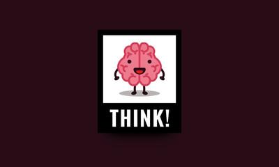 Think Brain Cartoon Vector Illustration Poster Design