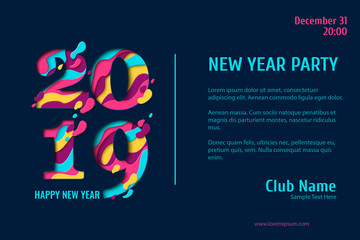 2019 Happy New Year paper craft holiday background. Vector winter holiday party invitation with paper cut numbers 2019 on dark background. Design for seasonal flyers, banners, posters.