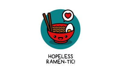 Hopeless Ramentic Ramen Bowl Pun Poster Vector Illustration in Flat Style Line Art
