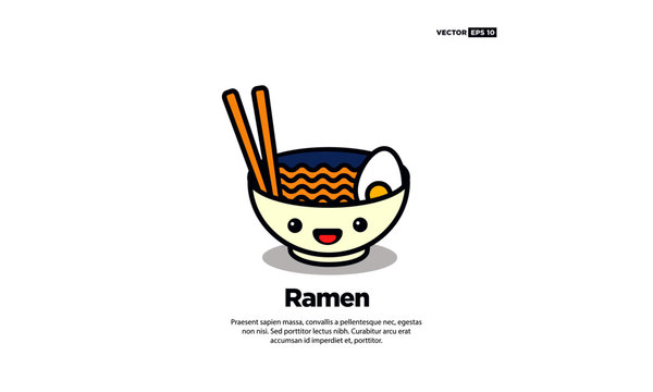 Happy Smiling Face Ramen Bowl Vector Illustration in Flat Style Line Art