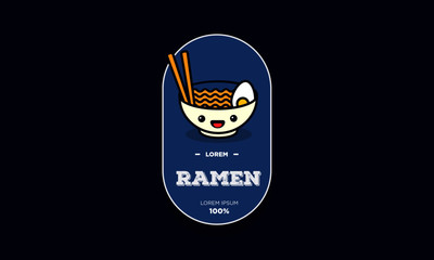 Ramen Bowl Badge and Sticker Vector Illustration in Flat Style Line Art