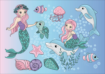 MERMAIDS Sea Color Vector Illustration Set for Scrapbooking and Digital Print on Card And Photo Children's Albums
