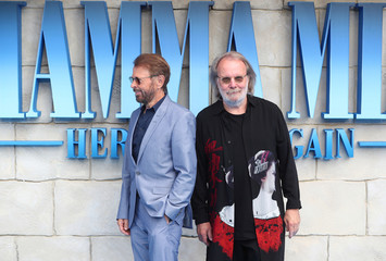 Bjorn Ulvaeus and Benny Andersson attend the world premiere of Mamma Mia! Here We Go Again at the Apollo in Hammersmith, London