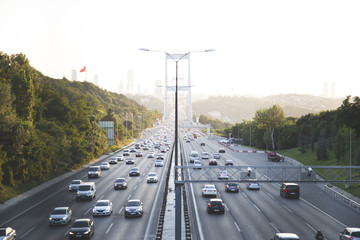 Istanbul traffic jam view from the Bosporus Bridge