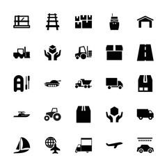 Collection of 25 transport filled icons