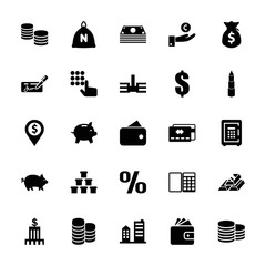 Collection of 25 bank filled icons