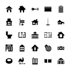Collection of 25 house filled icons