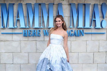 Lily James attends the world premiere of Mamma Mia! Here We Go Again at the Apollo in Hammersmith, London