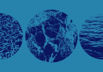Circular Water Texture Overlays Set