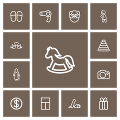 Set of 13 editable kin icons line style. Includes symbols such as slippers, camera, vacuum cleaner and more. Can be used for web, mobile, UI and infographic design.