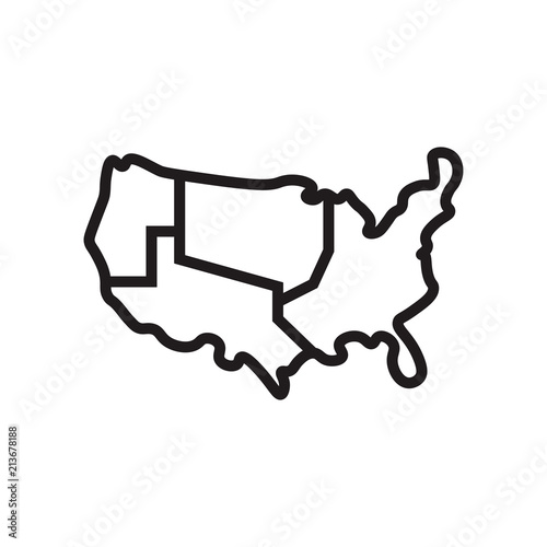 US map icon vector sign and symbol isolated on white background, US ...