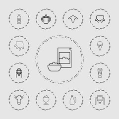 Collection of 13 milk outline icons