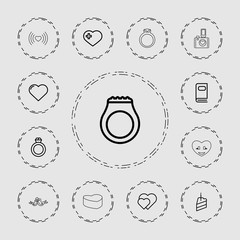 Collection of 13 wedding outline icons