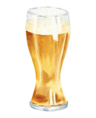 Hand drawn watercolor glass of beer, realistic illustration isolated on white background. Drink drawing.