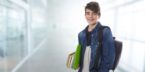 student with books isolated, back to school