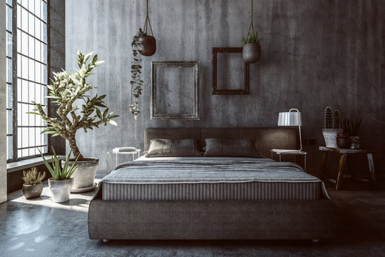 Dimly lit bedroom with plants and nightstand