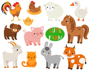 Cute cartoon farm animals set. Goat, pig, horse and other domestic creatures for kids and children