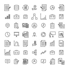 Simple set of management related outline icons.