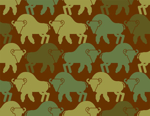 Bison military texture. Aurochs army pattern. Soldier protective Buffalo background. War hunter camouflage ornament. Wild Bull Vector illustration