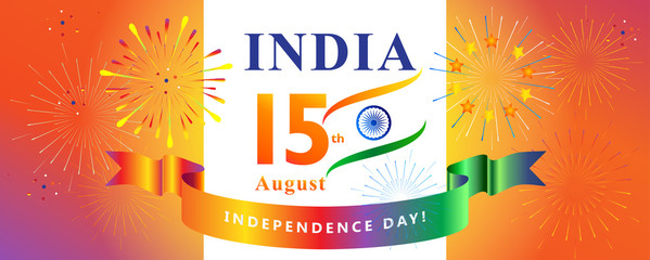 Happy Independence Day 15th of August, India Holiday Greeting card. Indian flag color, fireworks, confetti, decoration, Event festival invitation. Abstract futuristic background