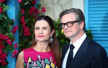 Colin Firth and Livia Giuggioli attend the world premiere of Mamma Mia! Here We Go Again at the Apollo in Hammersmith, London