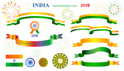 Ribbons banners and icons, logo, symbols set for Independence Day 15th of August, India Holiday, Greeting card. Indian flag, fireworks, confetti, decoration, Event festival