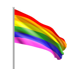 Realistic waving rainbow flag of the LGBT movement. Vector illustration isolated on white background.