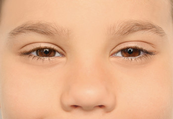 Little boy, closeup of eyes. Visiting ophthalmologist