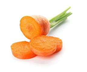 Ripe sliced carrot on white background