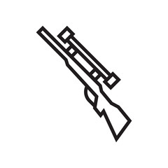 Rifle icon vector sign and symbol isolated on white background, Rifle logo concept