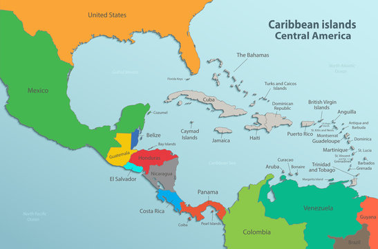 Caribbean islands Central America map state names card colors 3D vector