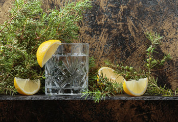 Gin , tonic with slices of lemon and a sprig of juniper .