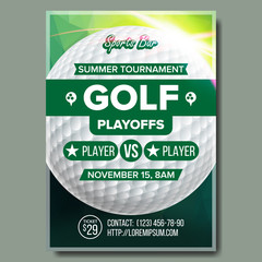 Golf Poster Vector. Design For Sport Bar Promotion. Golf Ball. Modern Tournament. A4 Size. Championship Golf League Flyer Template. Game Illustration