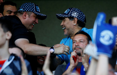 Diego Maradona reacts during the match between Dinamo-Brest and Shakhtyor Soligorsk in Brest