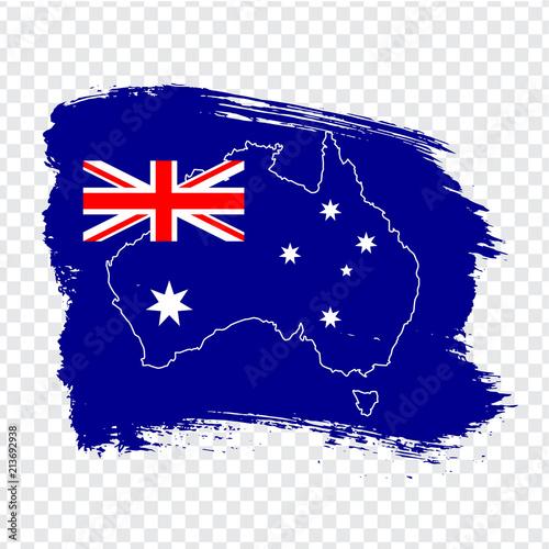 Flag of Australia from brush strokes and Blank map Australia. High ...