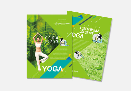 Yoga Flyer Layout with Green Accents